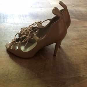 Zara Nude lace up patent leather heels 38 7